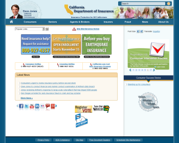 California Department of Insurance Web page