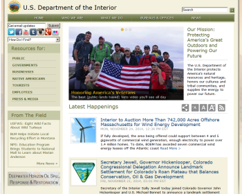 US Department of the Interior Web page