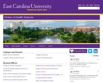 East Carolina University Web page