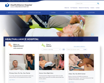 HealthAlliance Hospital Web page