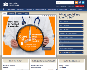 NorthBay Healthcare System Web page