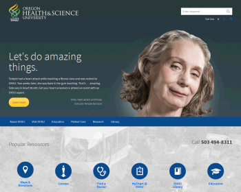 Oregon Health and Science University Web page