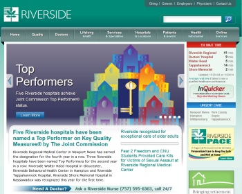 Riverside Health System Web page