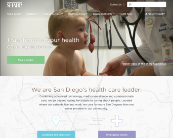 Sharp HealthCare Web page