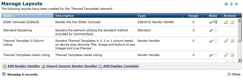 Manage Layouts dialog with a Generic Render Handler