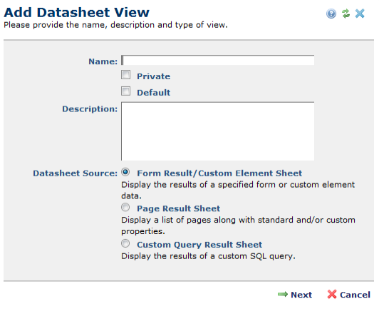 Add Datasheet View