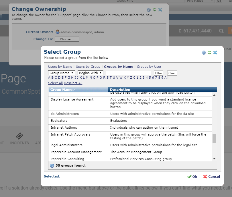 Select Group dialog for Changing Owner