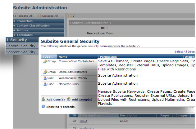 Subsite General Security - Permissions