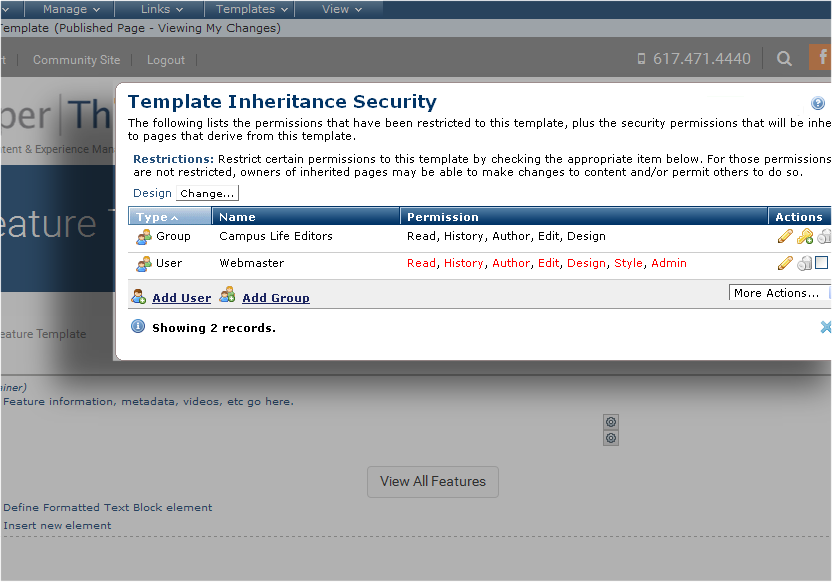 Template Inheritance Security - Change