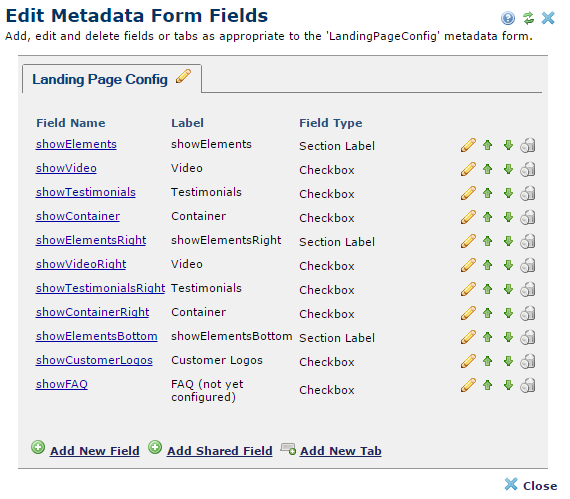 Metadata form builder