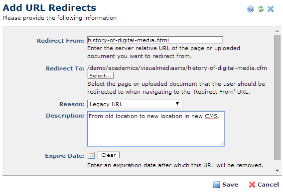 Add URL Redirect Dialog