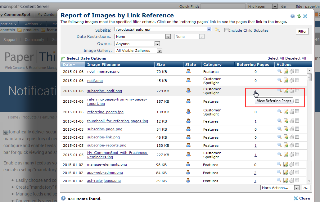 Report of Images by Link Reference