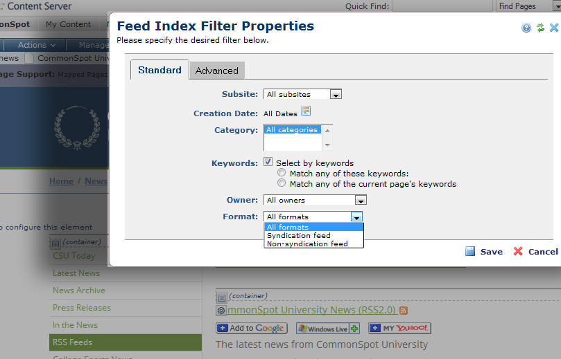 Feed Index Filter Properties