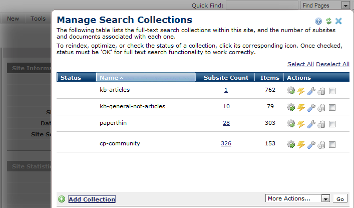 Manage Search Collections