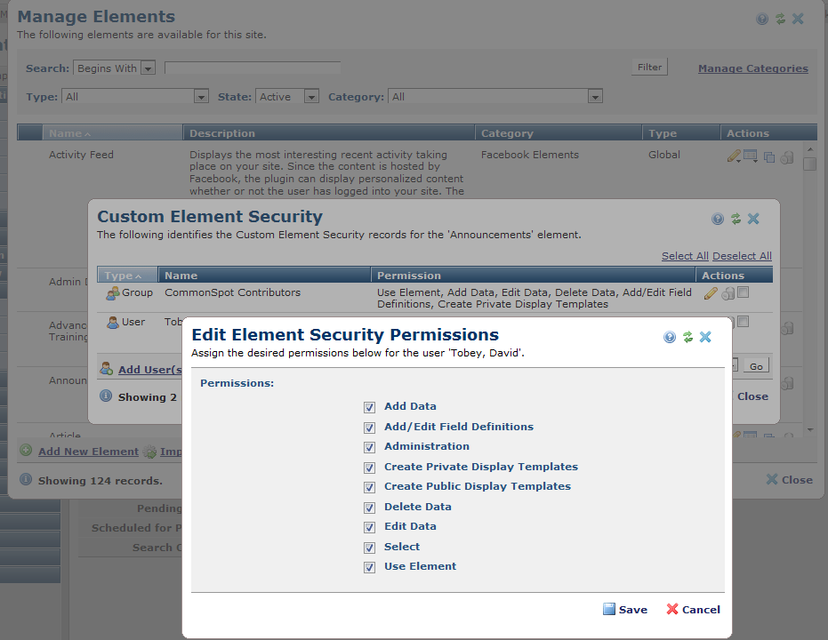 Manage Custom Elements Security