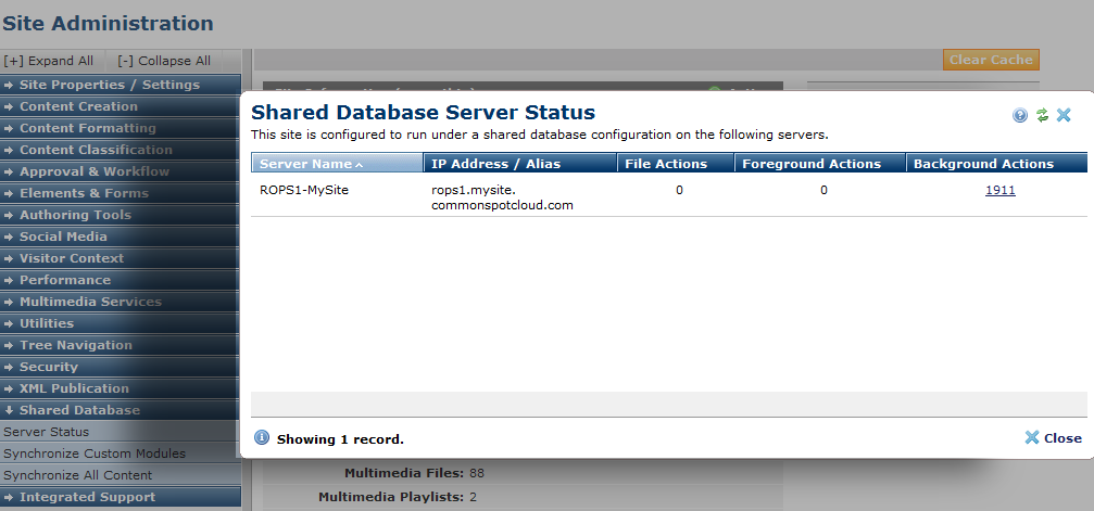 Shared Database Server Status
