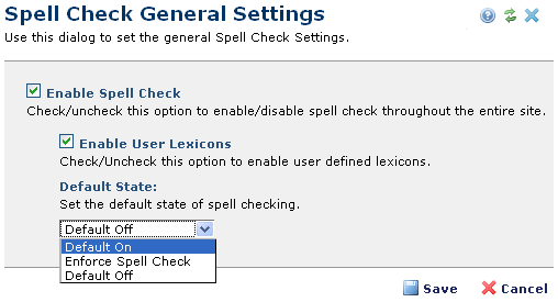 Spell Check General Settings