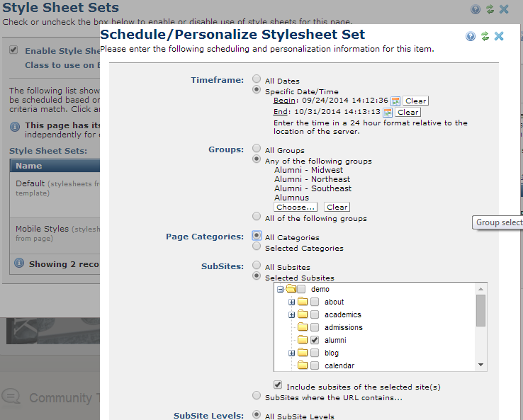 Set criteria for using style sheets