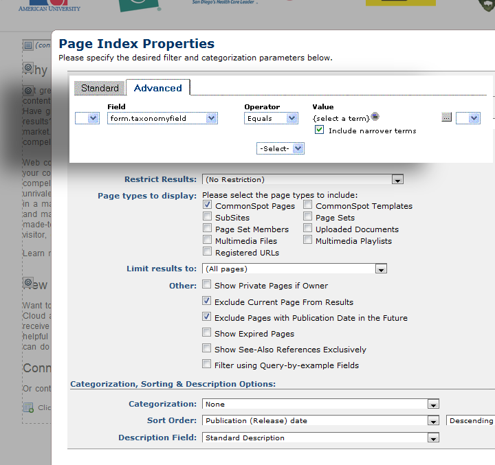 Page Index Options