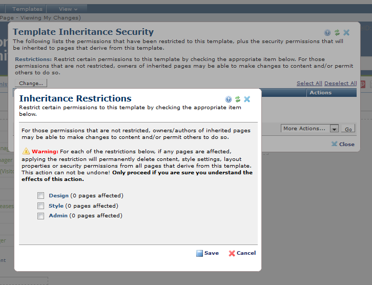Template Inheritance Security Dialog