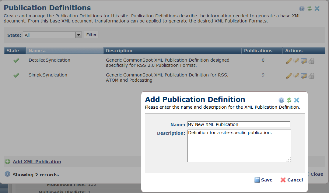 Add Publication Definitions