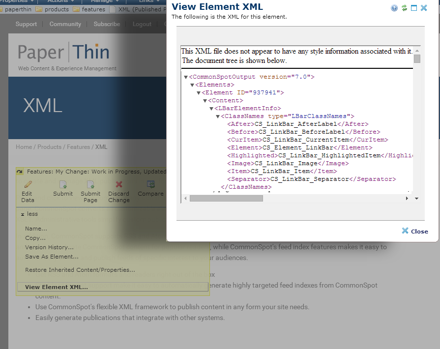 View Element XML